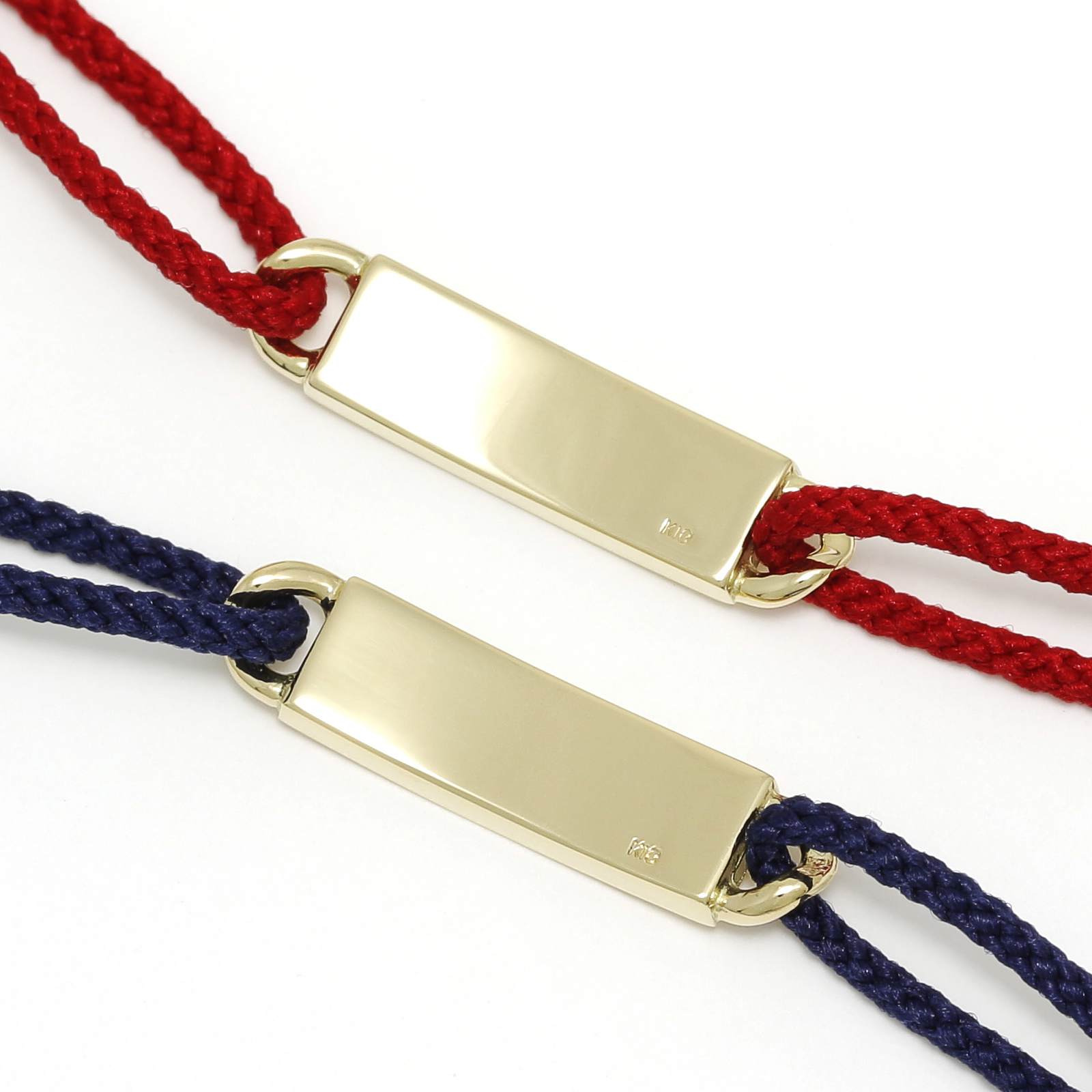 ID Plate Cord Bracelet&Anklet - K18Yellow Gold