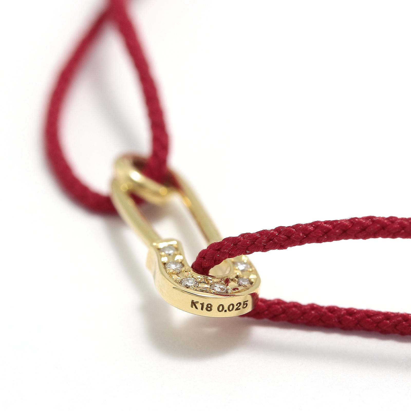 Safety Pin Cord Bracelet - K18Yellow Gold w/Diamond