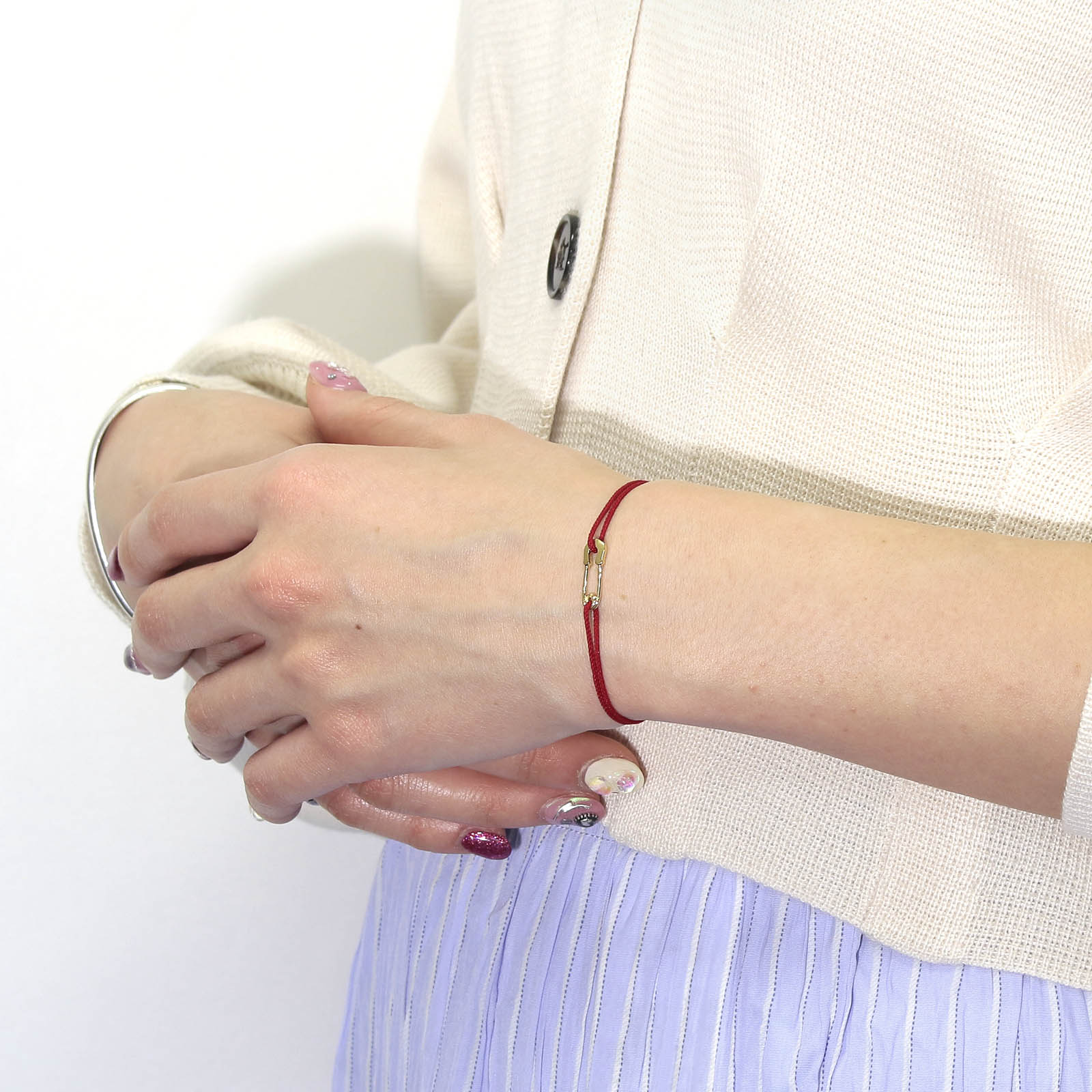 Safety Pin Cord Bracelet - K18Yellow Gold