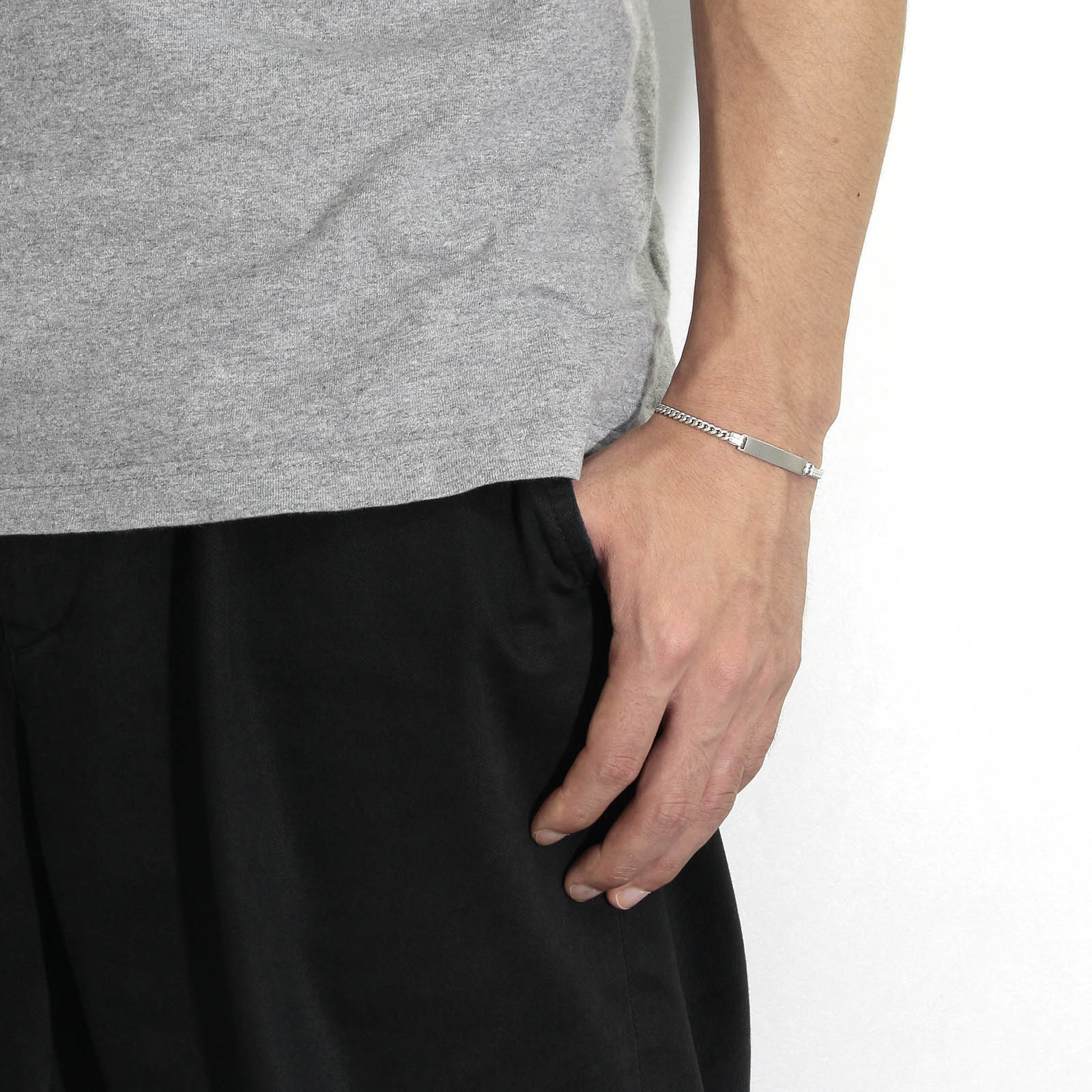 Narrow ID Chain Bracelet - Silver