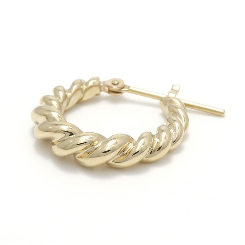 Gradation Twist Hoop Pierce - K10Yellow Gold