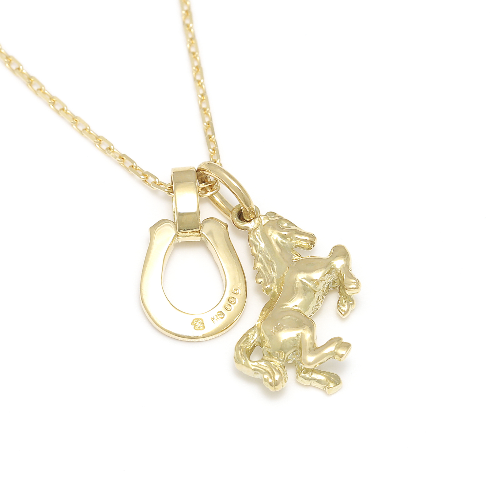 Small Horse & Horseshoe Necklace - K18Yellow Gold w/Diamond