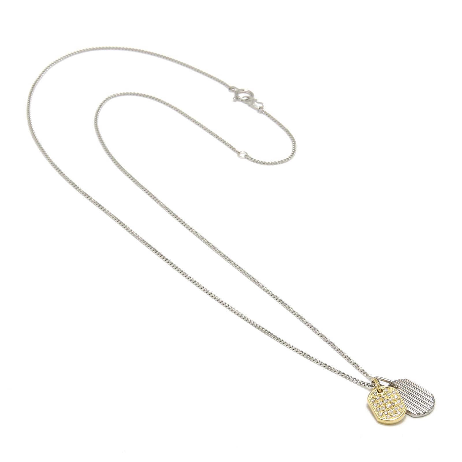 2018 Christmas Model Small Dog Tag Necklace - K18Yellow Gold × Pt900 w/Diamond