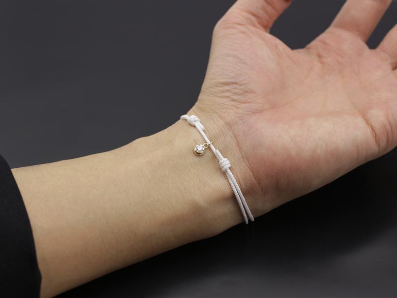 Cord Bracelet用 Peace Charm - K10Yellow Gold w/Diamond