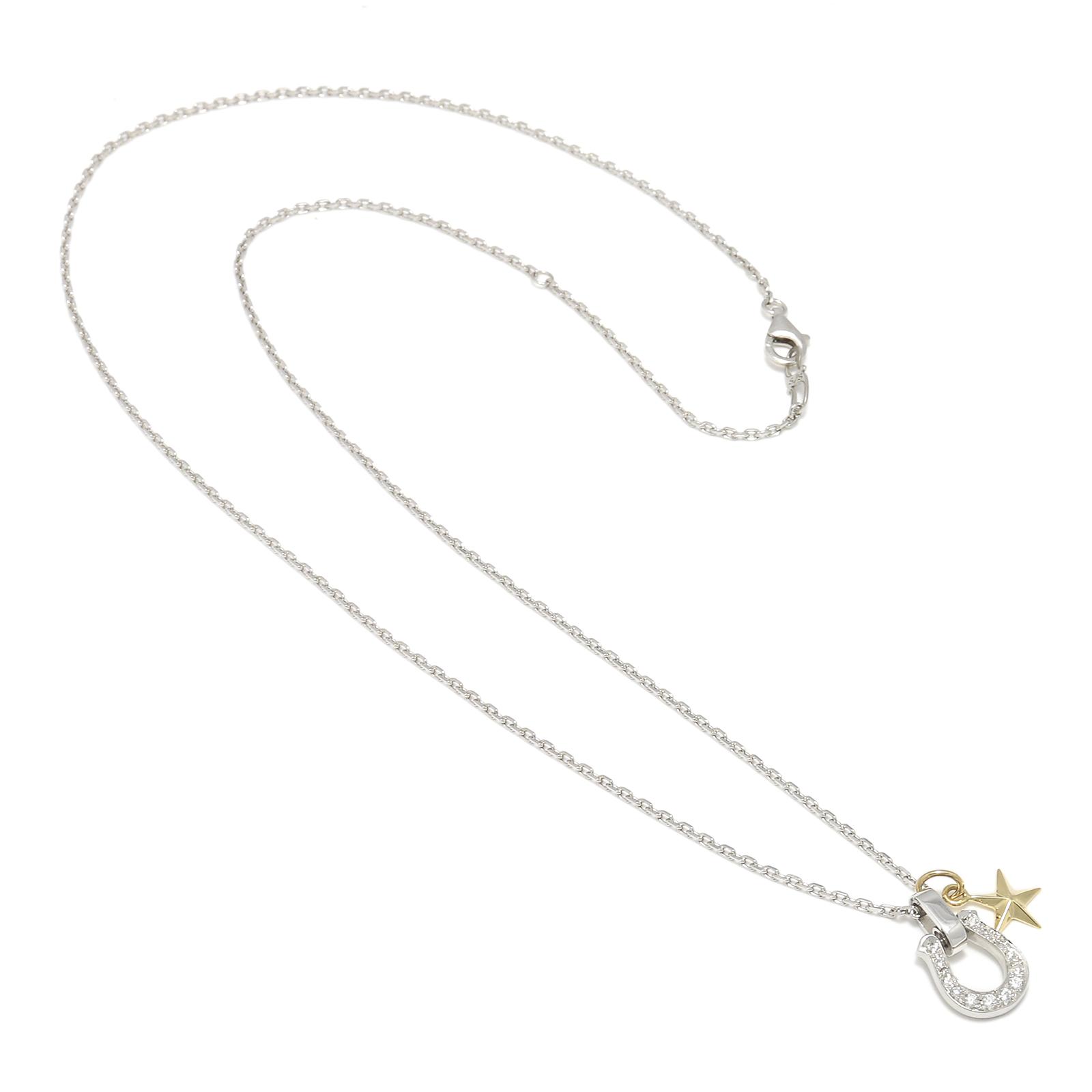 Horseshoe Amulet - Silver w/CZ + Small Star Charm - K18Yellow  Gold Set Necklace