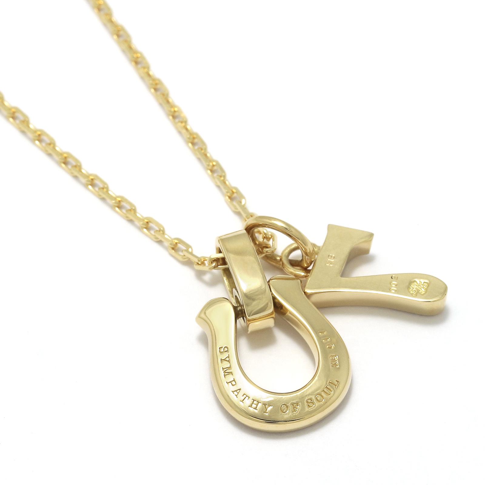 Horseshoe Amulet +  Number Charm - K18Yellow Gold w/Diamond Set Necklace