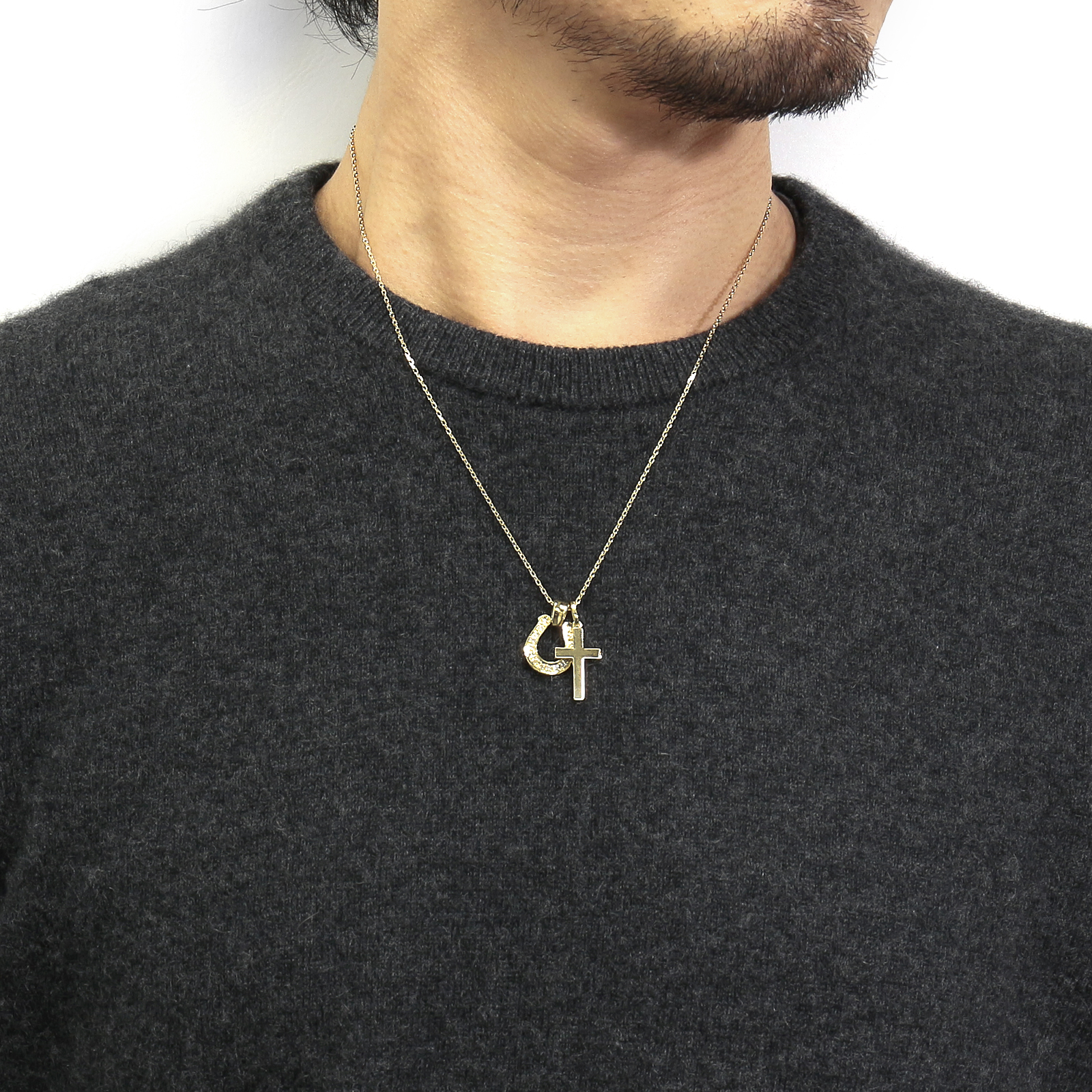 Horseshoe Large + Simple Cross Medium - K18Yellow Gold w/Diamond Set Necklace