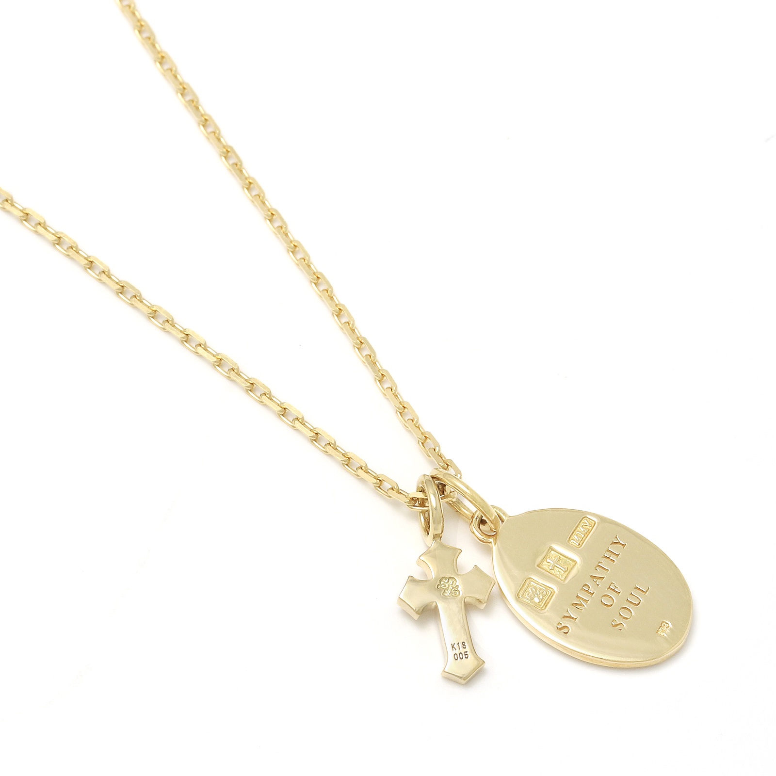 Maria Pendant + Little Cross Charm - K18Yellow Gold w/Diamond Set Necklace