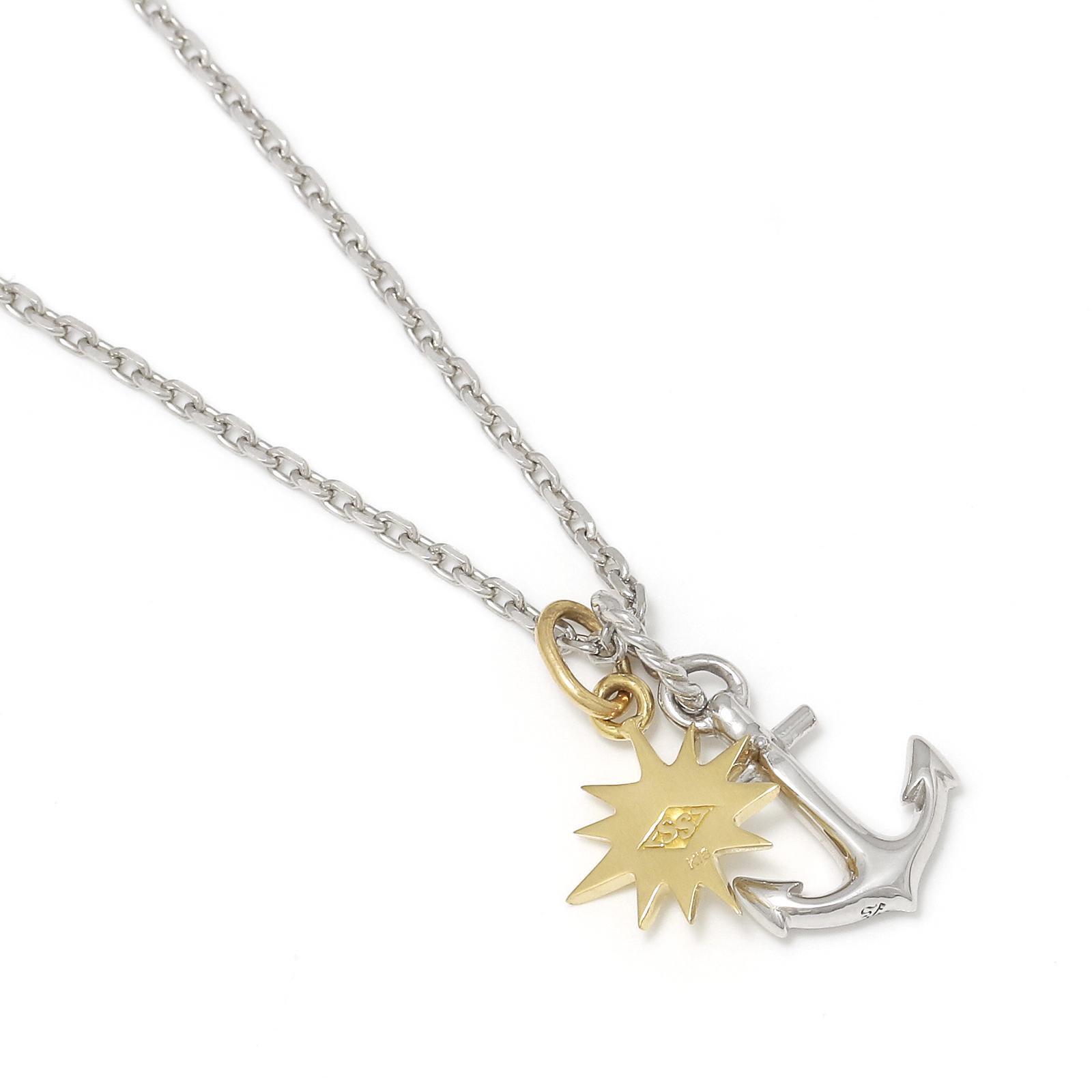 Anchor Pendant - Silver + Small Sun Charm - K18Yellow Gold Set Necklace