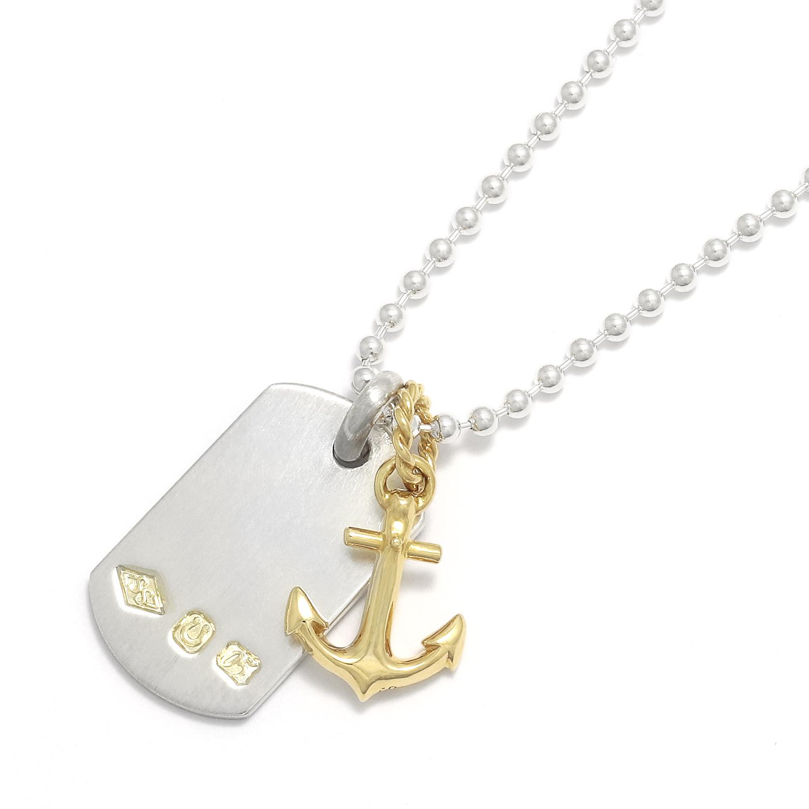 Anchor Pendant - K18Yellow Gold + Hallmark Dog Tag - Silver Set Necklace