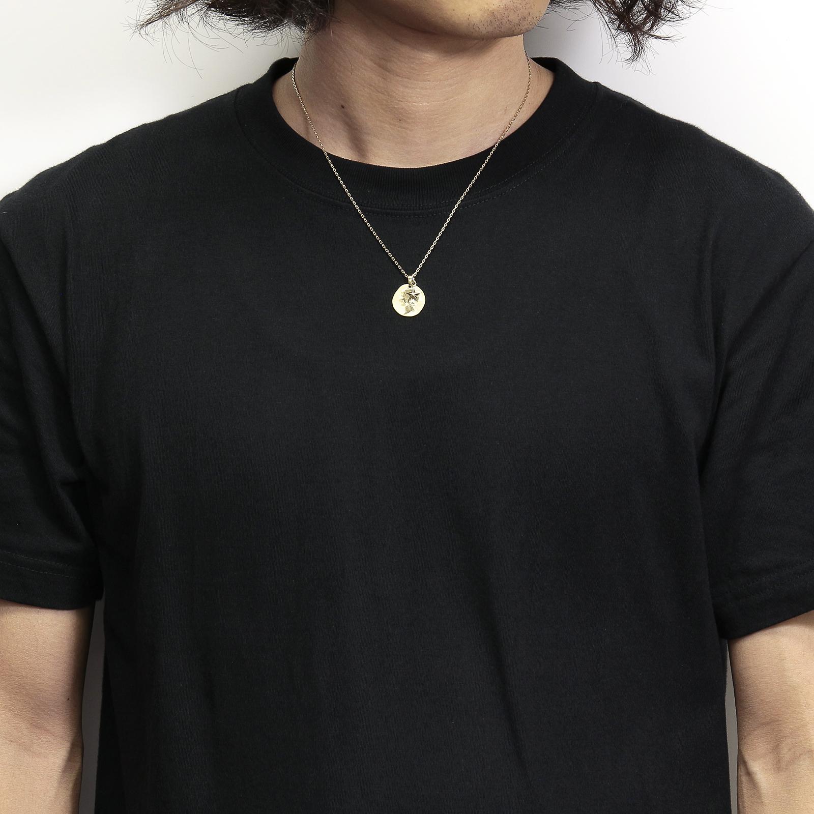 Liberty Head Pendant + Small Star Charm - K18Yellow Gold Set Necklace