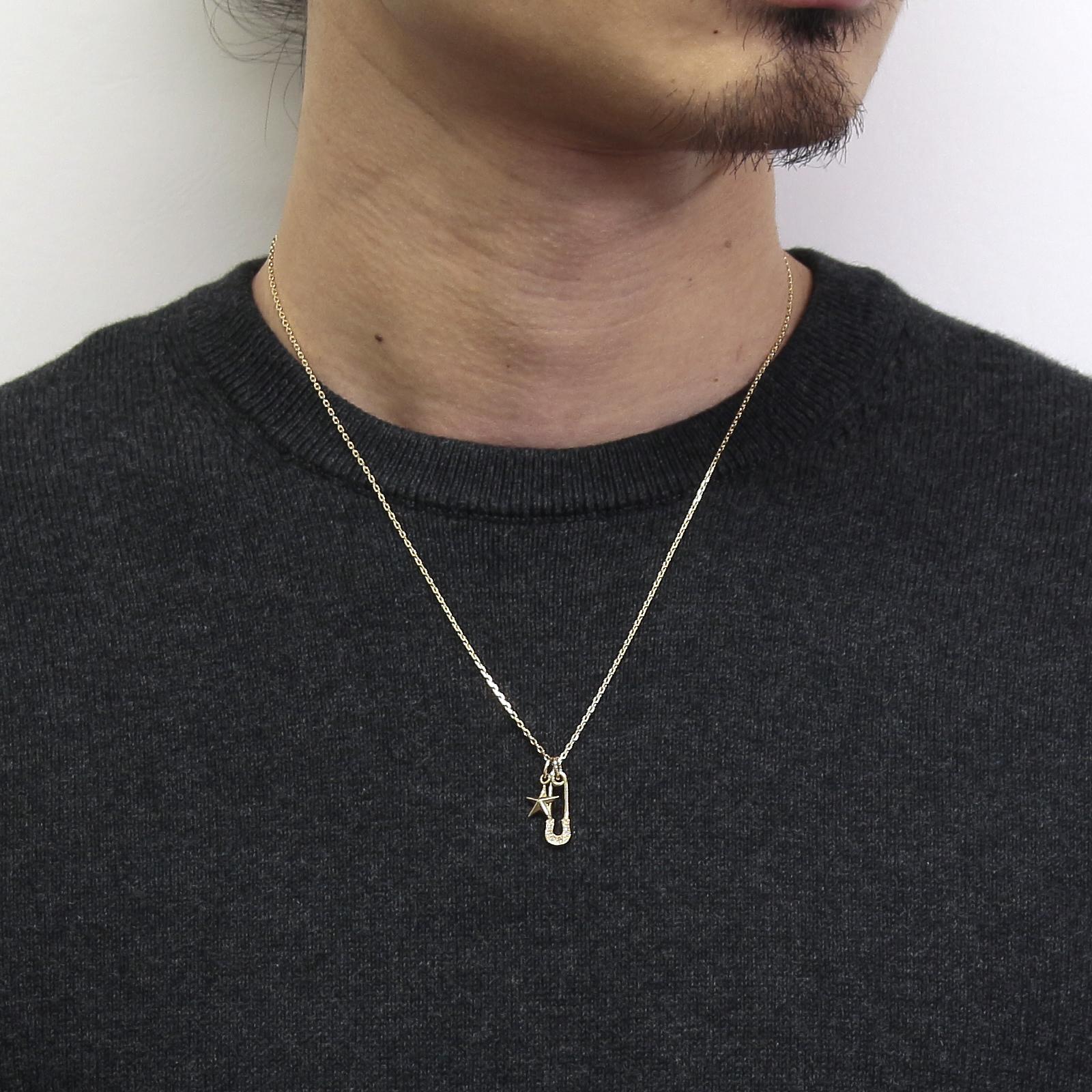 Safety Pin Charm + Small Star Charm - K18Yellow Gold w/Diamond Set Necklace