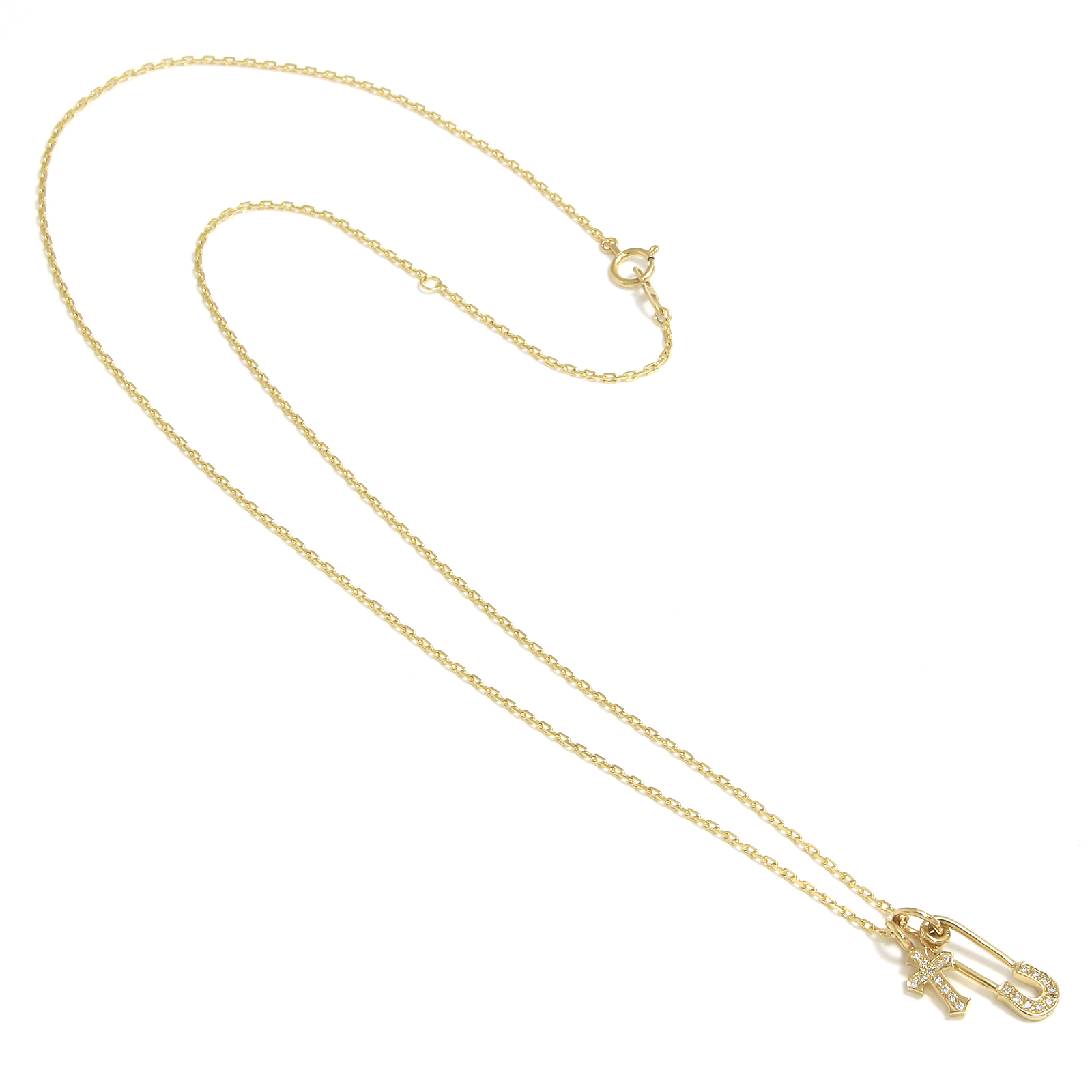 Safety Pin Charm + Little Cross Charm - K18Yellow Gold w/Diamond Set Necklace