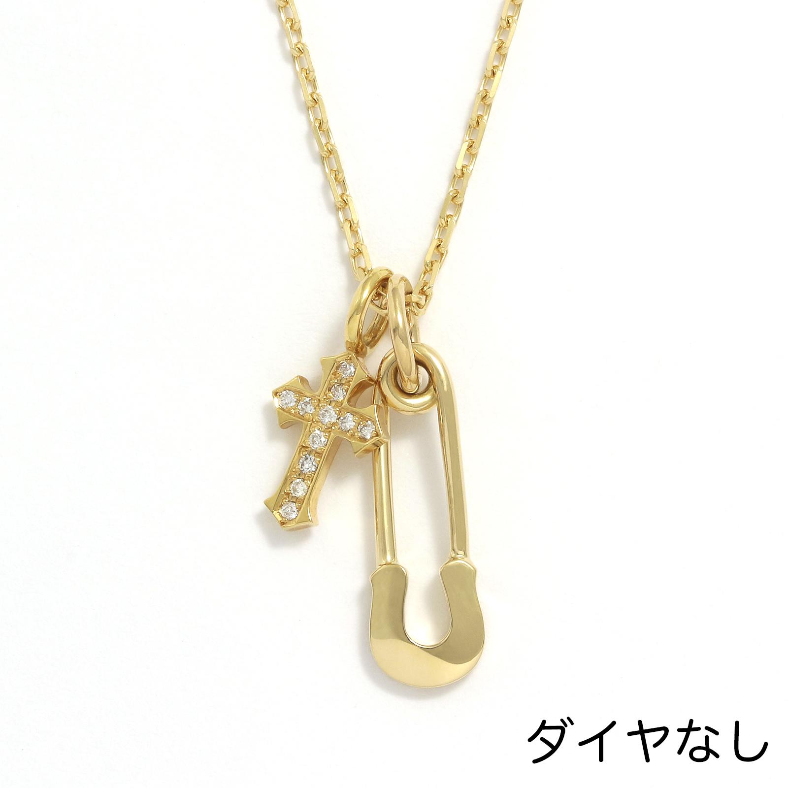 Safety Pin Charm + Little Cross Charm - K18Yellow Gold w/Diamond Set Necklace
