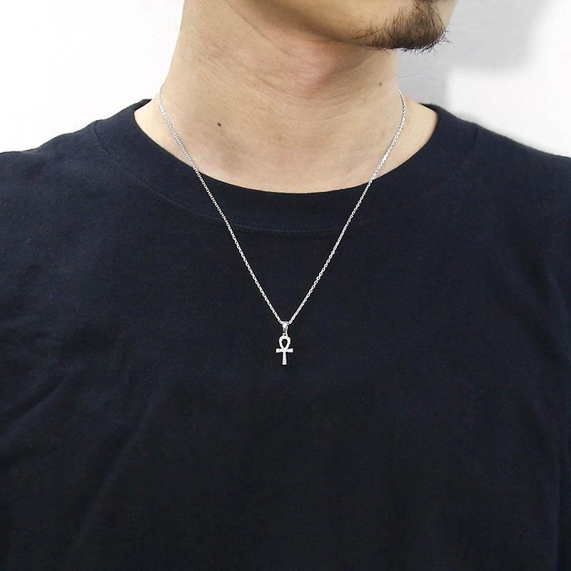 Ankh Pendant - Silver w/CZ