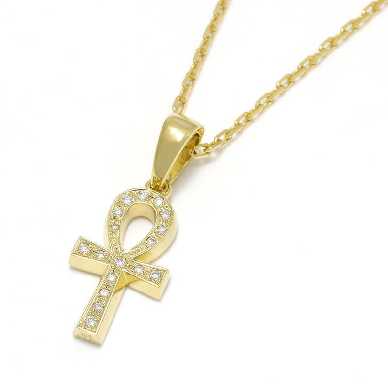 Ankh Pendant - K18 Yellow Gold w/Diamond