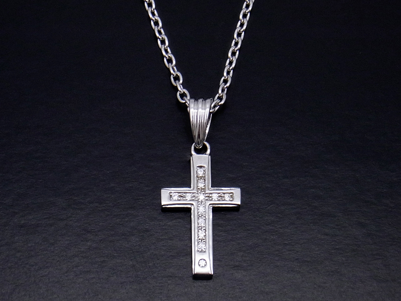Gravity Cross Pendant - Silver w/Clear CZ