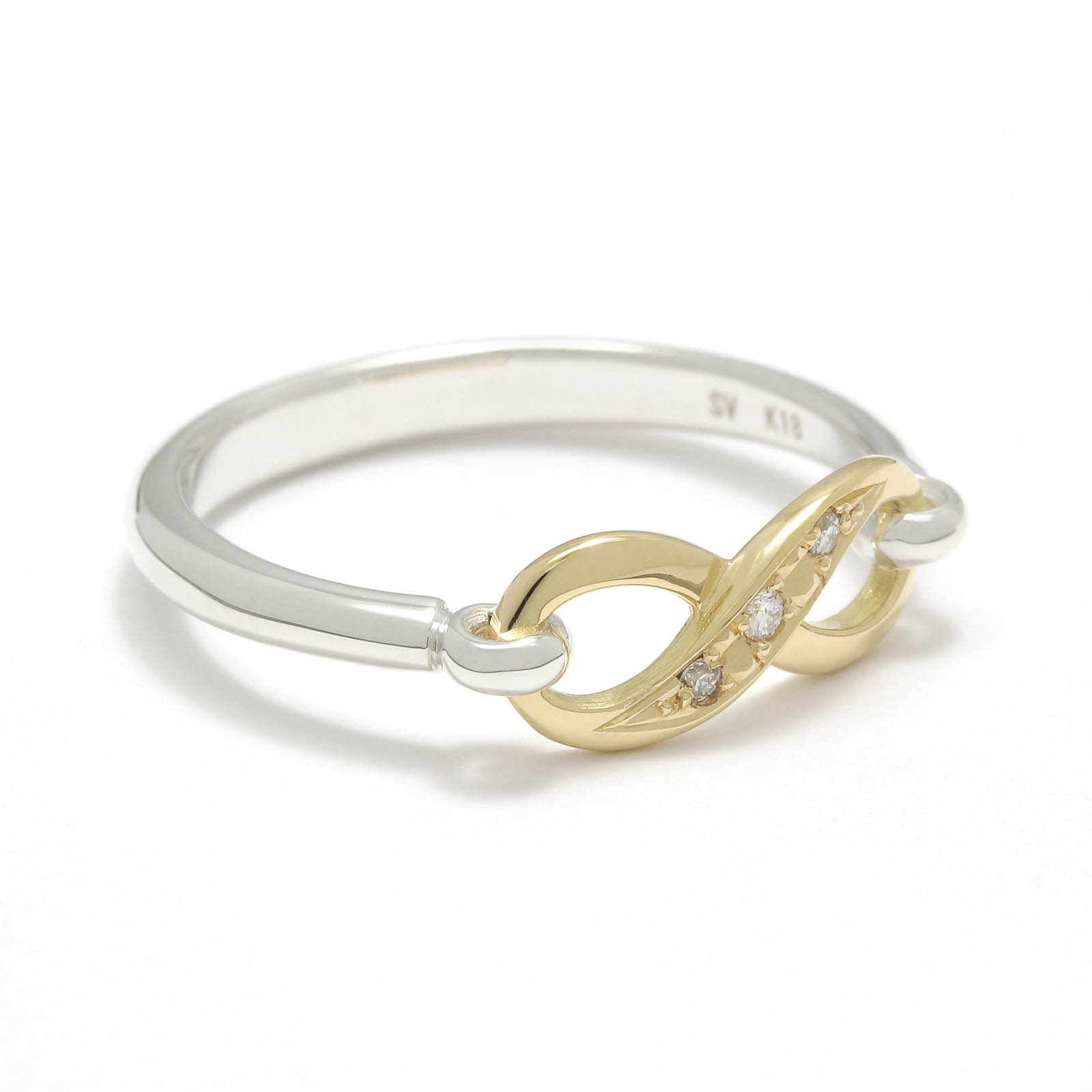 Infinity Band Ring - Silver×K18Yellow Gold w/Diamond