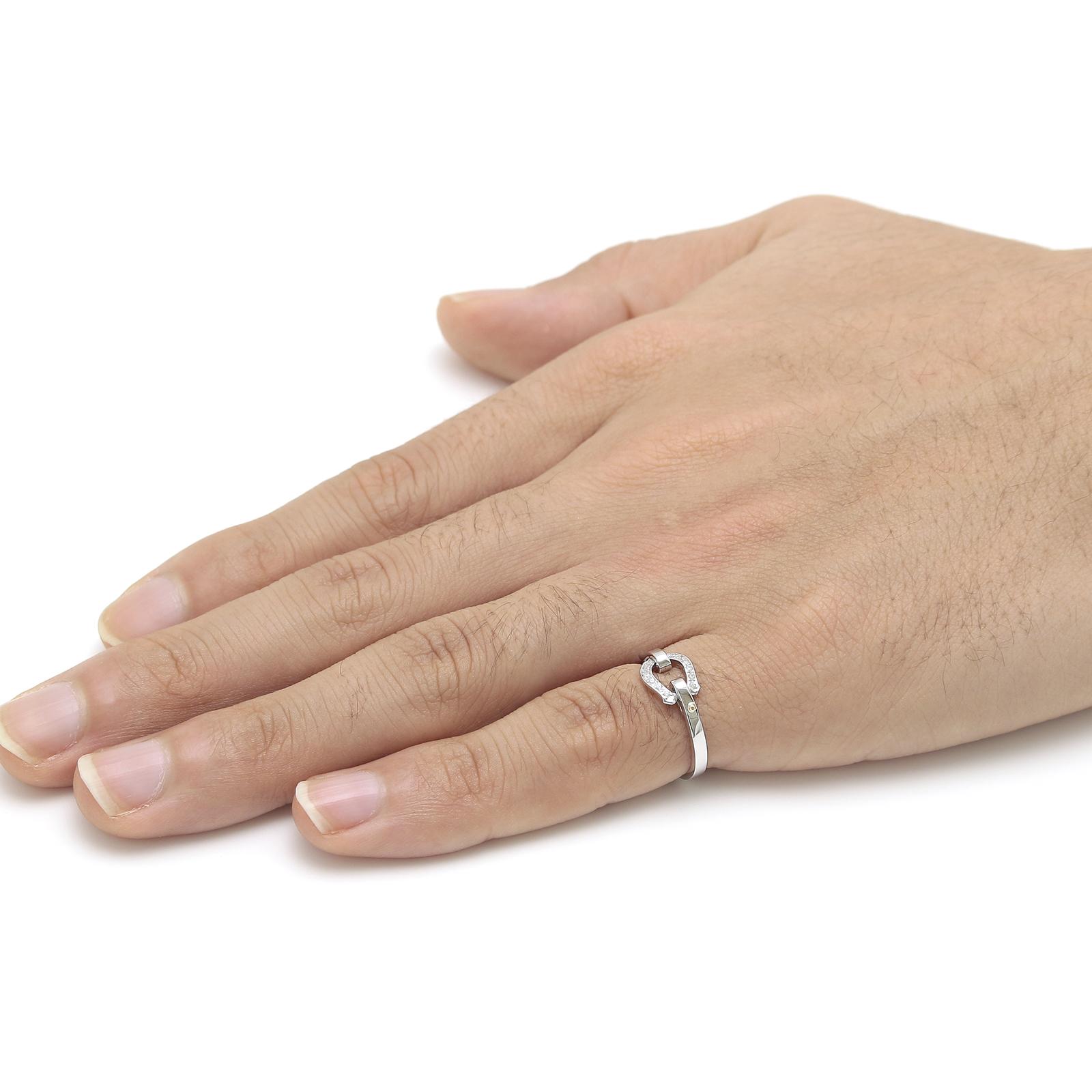 Horseshoe Band Ring Small - Silver w/CZ
