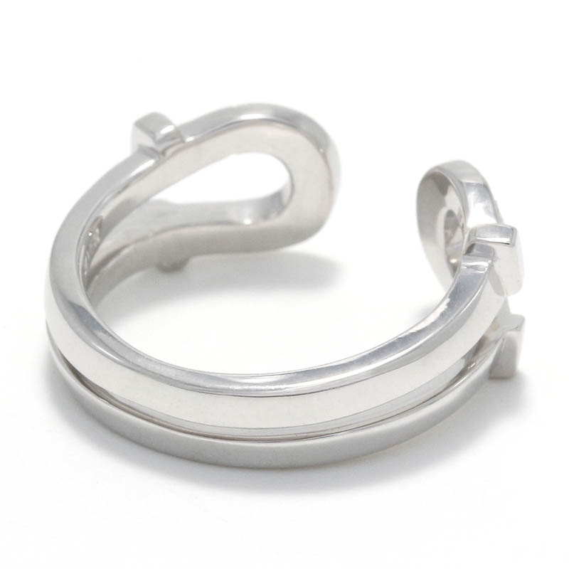 Double Horseshoe Ring Small - Silver w/CZ