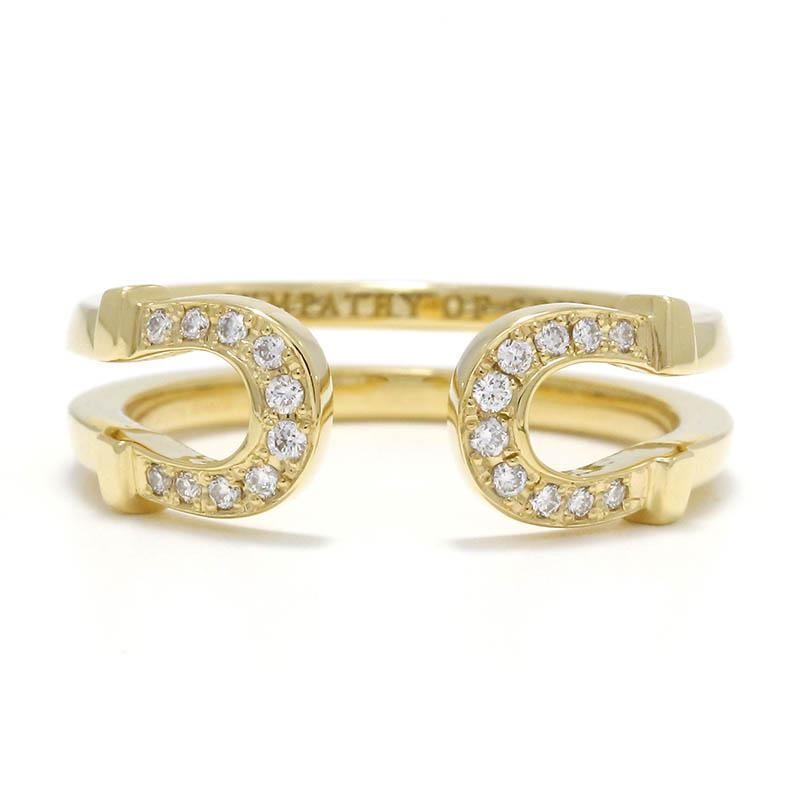Double Horseshoe Ring Small - K18Yellow Gold w/Diamond