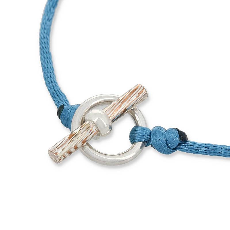 Black Pearl Cord Bracelet w/MOKUME T-Bar