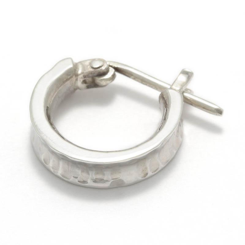 Silver Hammered Curvature Hoop Pierce