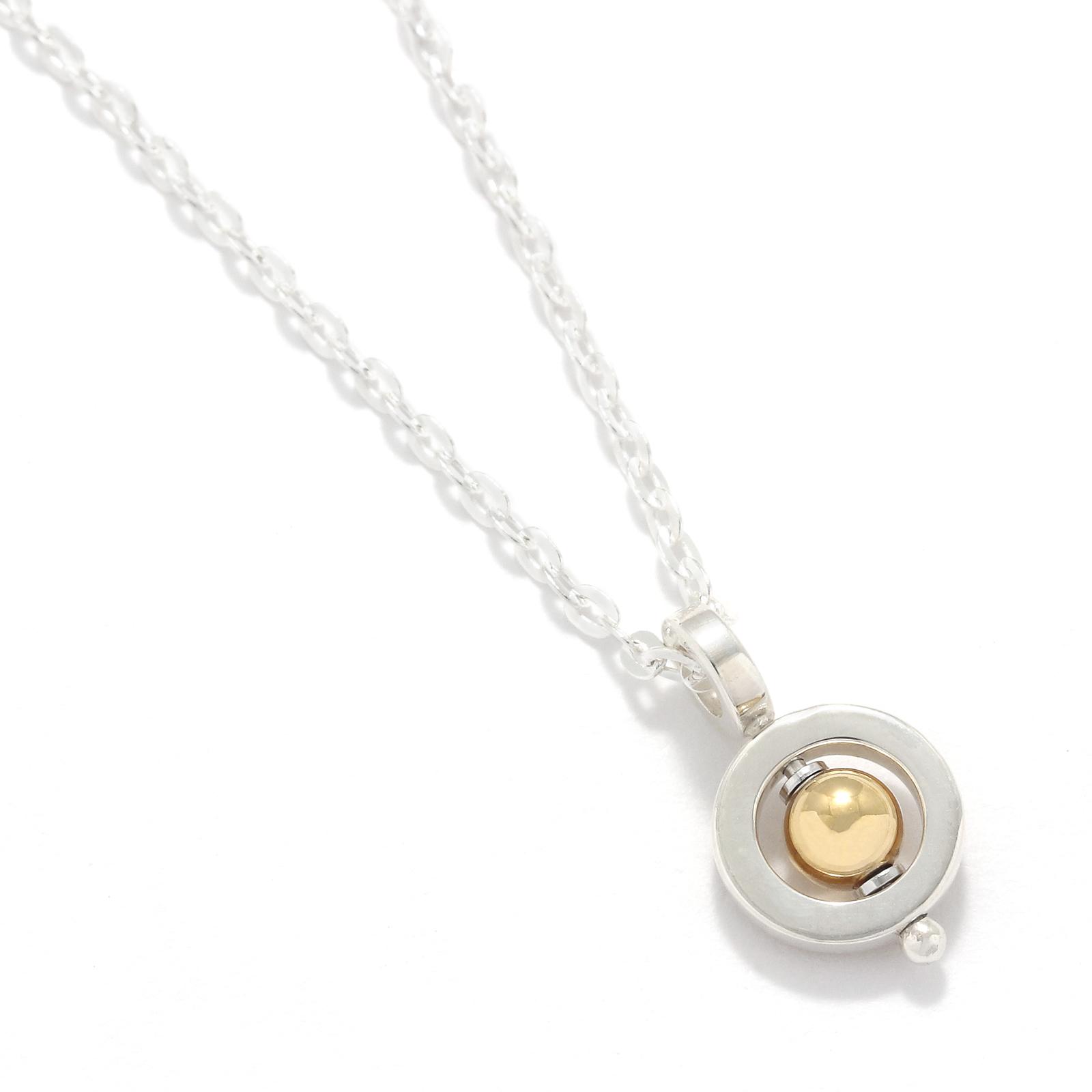 Tiny Bramanda Necklace Silver w/18K Bead