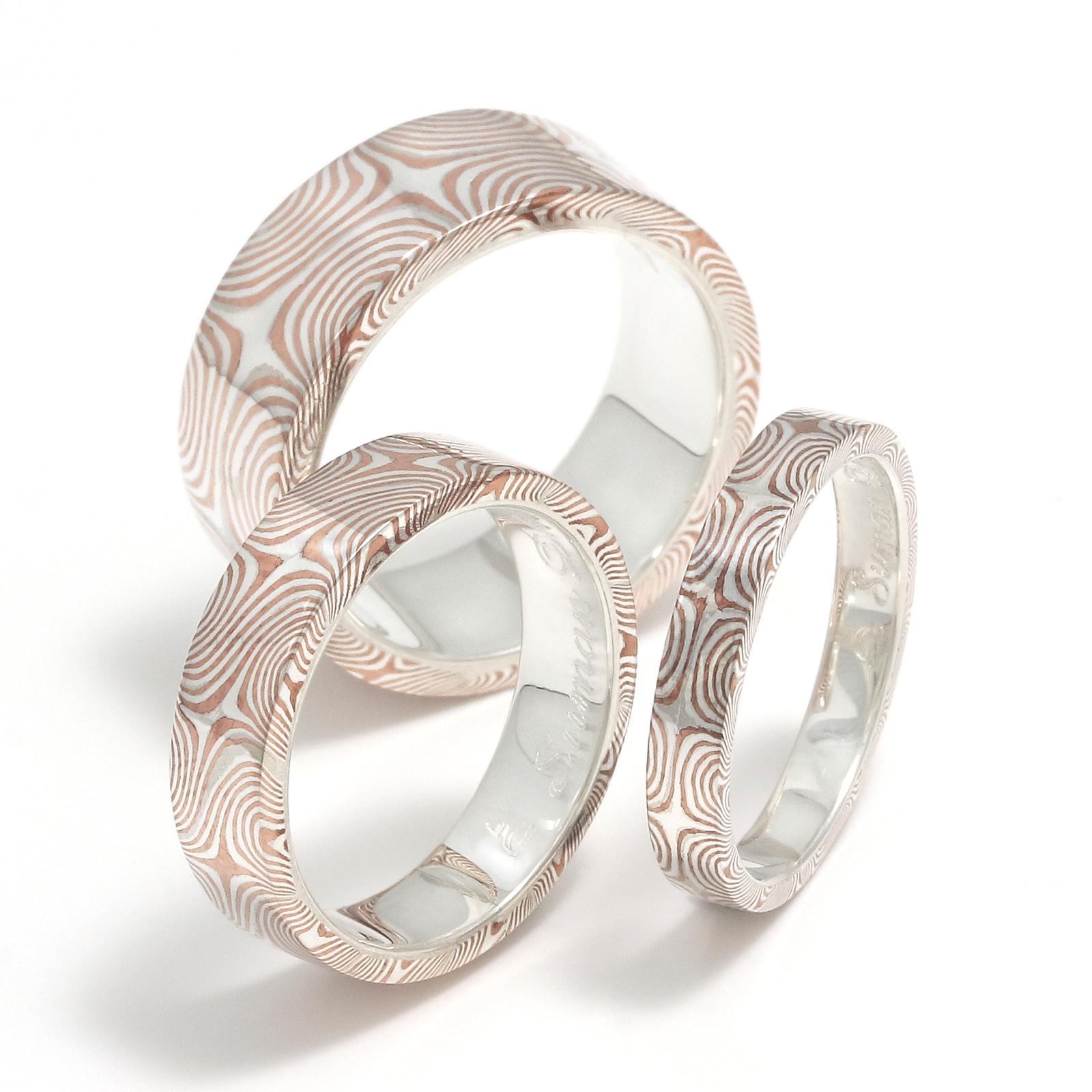 Star Pattern MOKUME Flat Band Ring