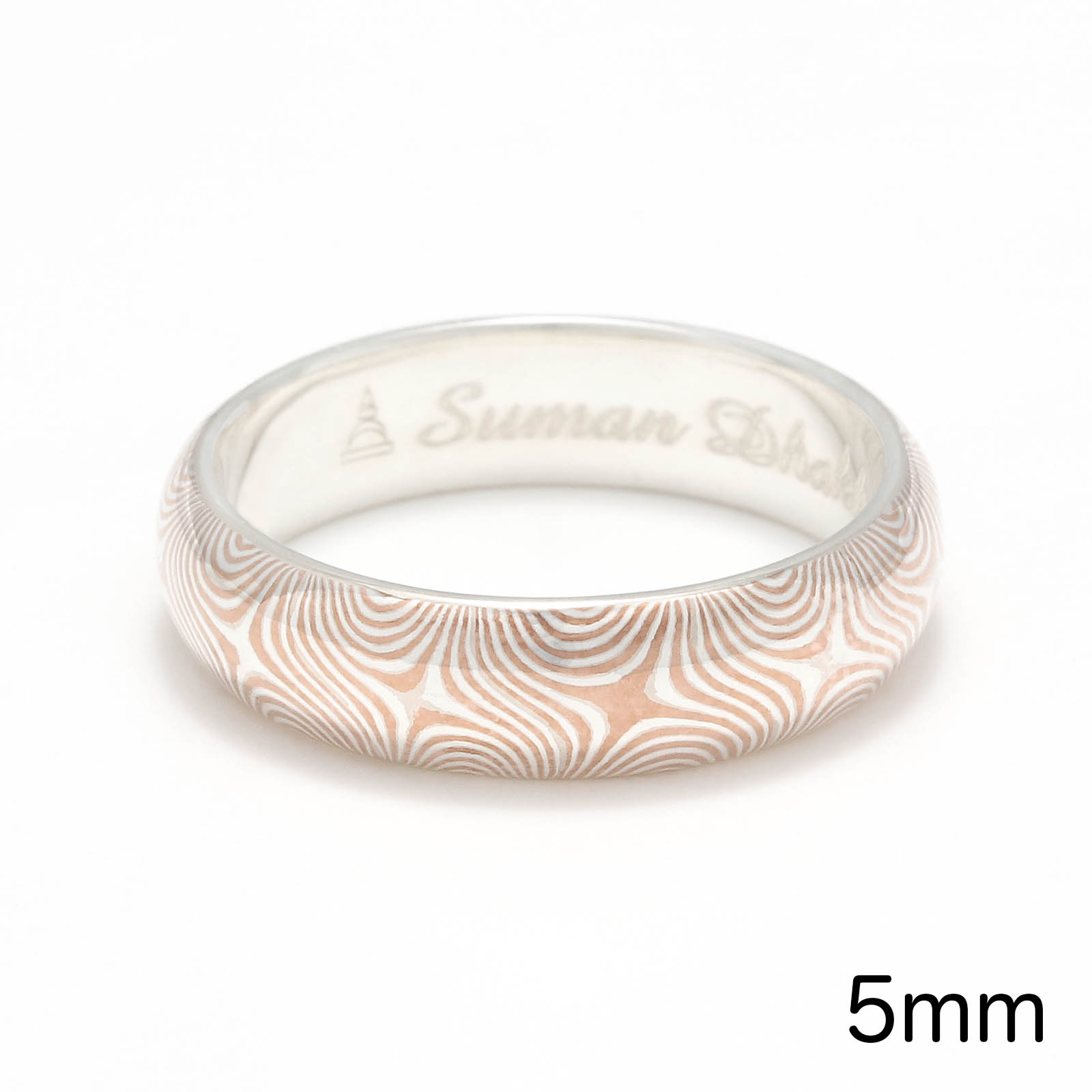 Star Pattern MOKUME Round Ring