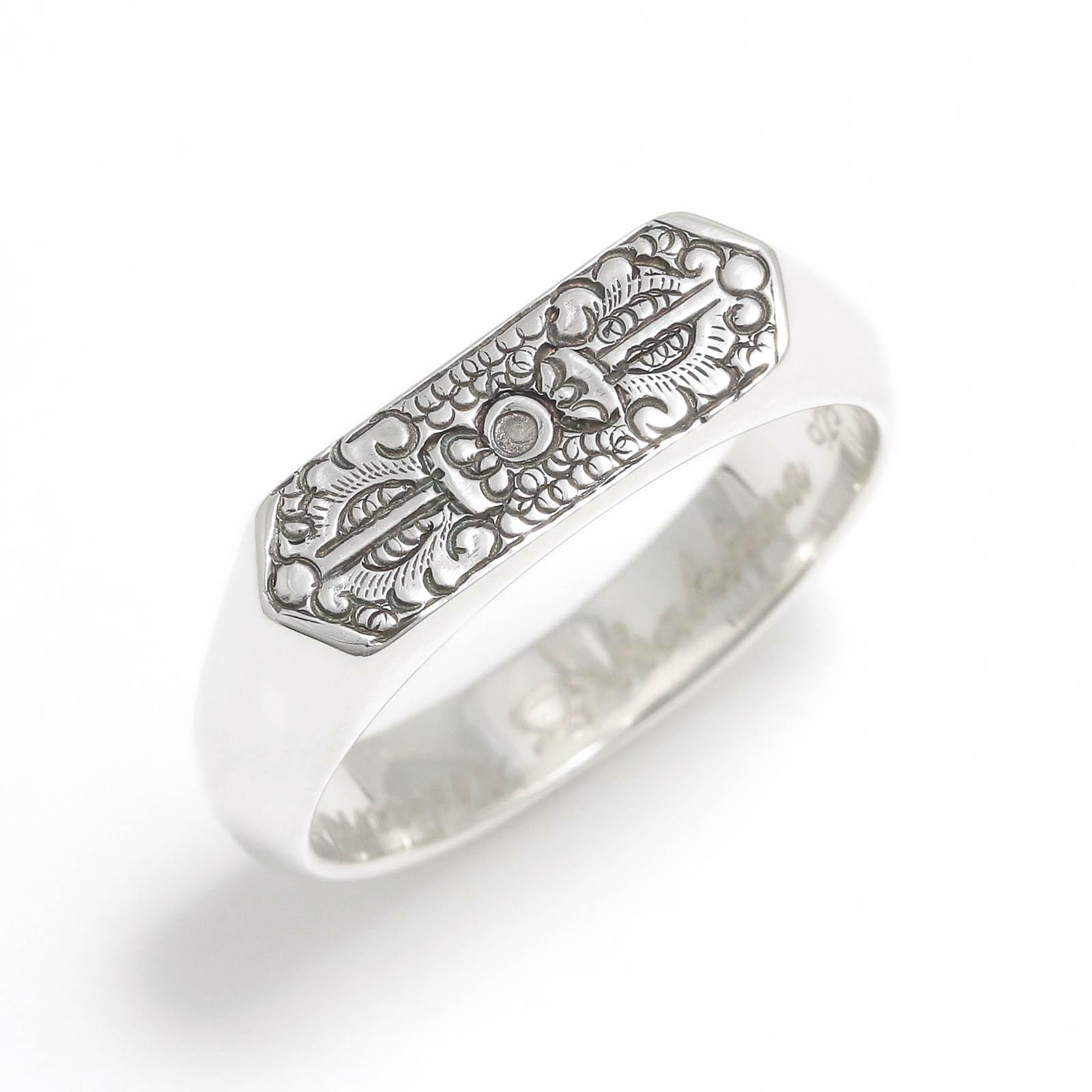 Narrow Dorje Carved Signet Ring