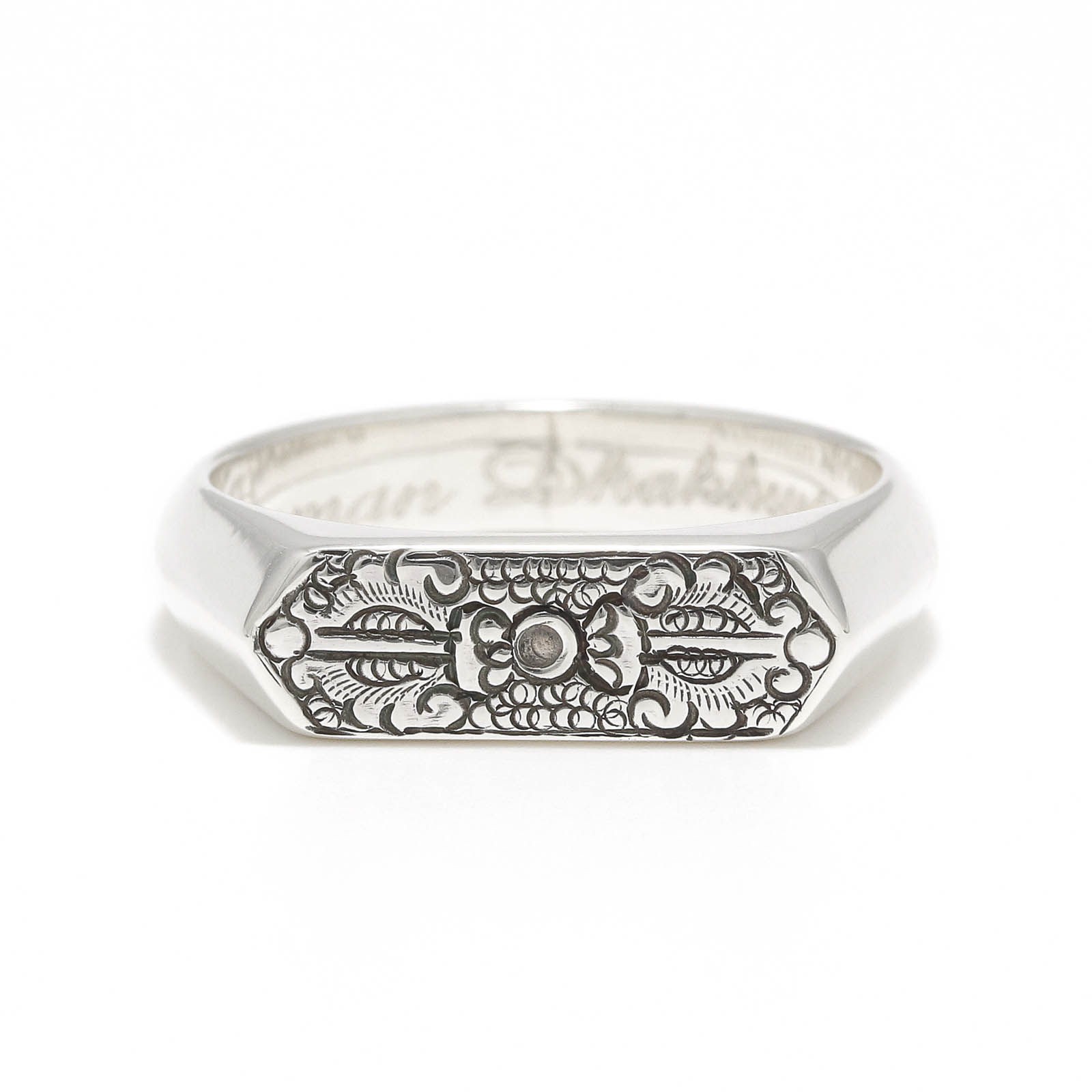 Narrow Dorje Carved Signet Ring