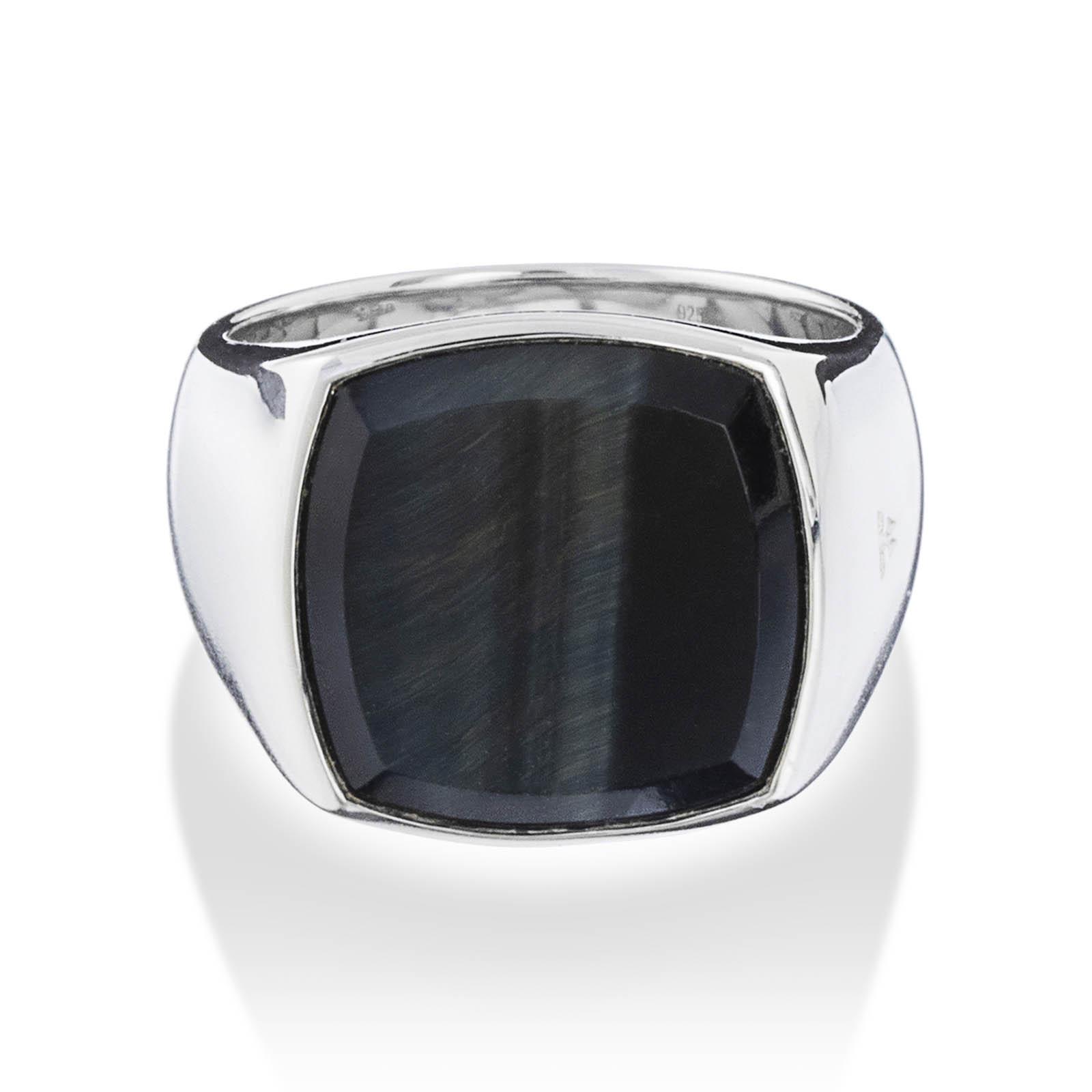 Cushion Blue Hawk Eye Ring