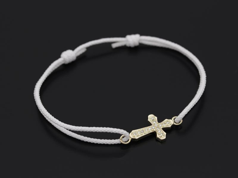 Smooth Cross Medium Cord Bracelet - K10Yellow Gold w/Diamond