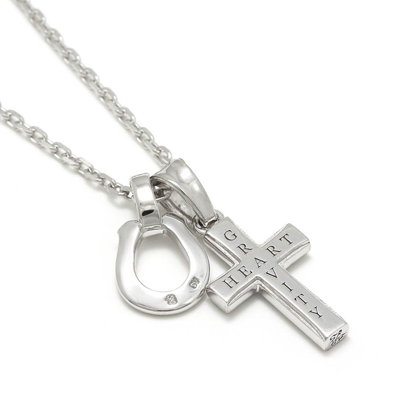 S.O.S fp恵比寿本店、インターネットストア限定 Small Gravity Cross Necklace w/Horseshoe - Silver w/CZ