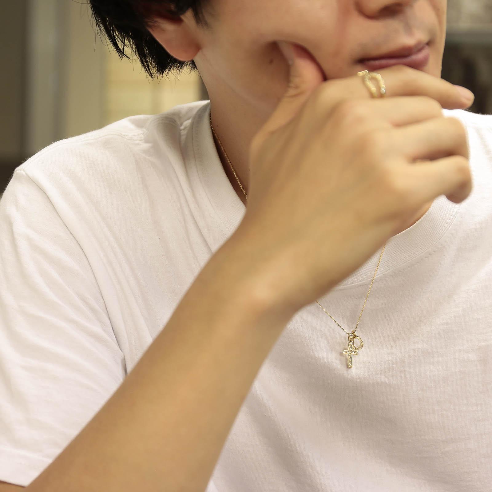S.O.S fp恵比寿本店、WEB限定 Small Gravity Cross Necklace w/Horseshoe - K18Yellow Gold w/Diamond